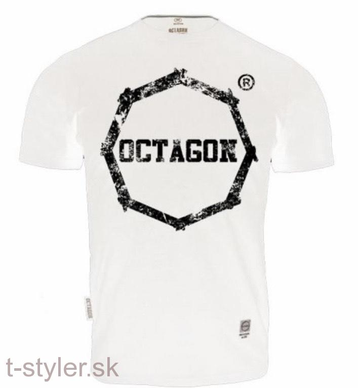 Octagon T-shirt Klasic Logo Big - White