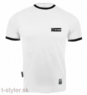 Octagon T-shirt - Small Logo Caption White
